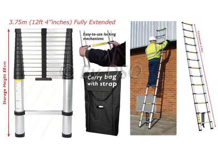 Pro User Trade Quality 2.9m Telescopic Ladder